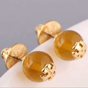 Tory Burch gold plated amber pearl earrings